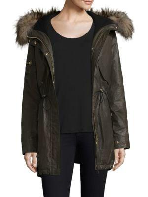 Long Hudson Military Raccoon Fur Coat