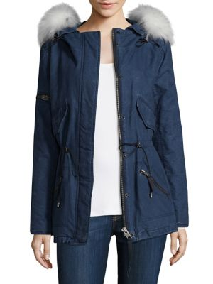 Denim Hudson Mini Fur Trim Coat
