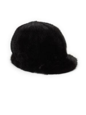 SURELL MINK FUR JOCKEY HAT, BLACK