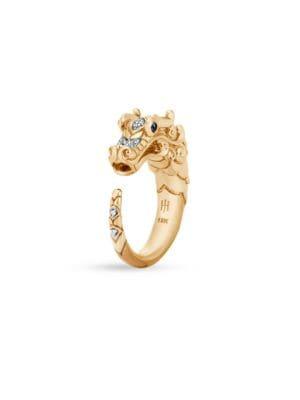 Legends Naga Diamond Pave 18K Gold Dragon Ring