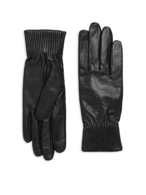 Ribbed Leather Gloves