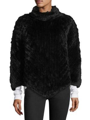 SURELL Rabbit Fur Poncho