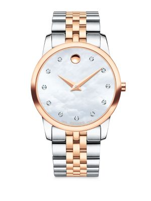 Museum Classic Diamond, Mother-of-Pearl, Rose Gold & Stainless Steel Link Bracelet Watch