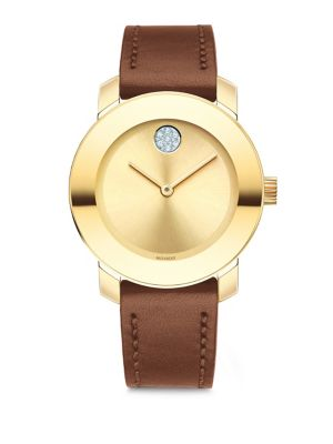 Bold Stainless Steel Analog Leather Strap Watch