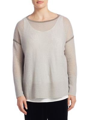 Plus Mohair-Blend Sequin Sweater