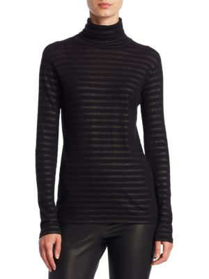 Cotton Cashmere Metallic Stripe Turtleneck Top