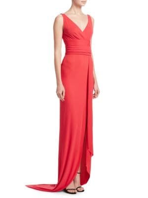 V-Neck Wrap Gown