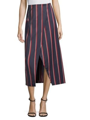 Apolline Striped Midi Skirt