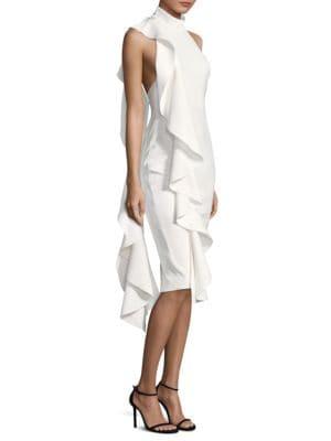 Amelle Ruffle Halter Dress