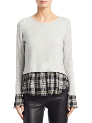 Noa Plaid Cuffs & Hem Top