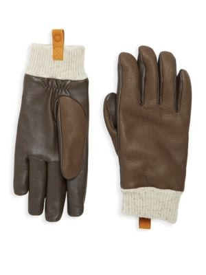 Casual Leather & Shearling Smart Gloves