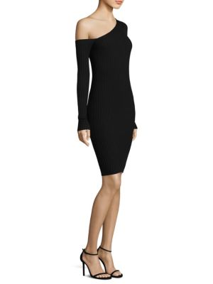 Ribbed One Shoulder Sheath Dress