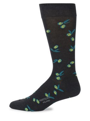 MARCOLIANI Mid-Calf Olive Cotton Socks in Charcoal