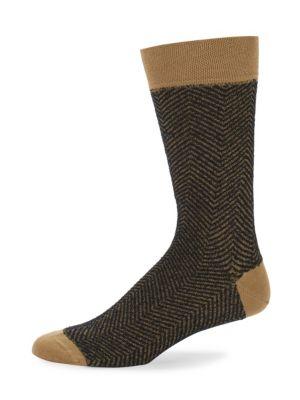 Mid-Calf Knitted Herringbone Cotton Socks