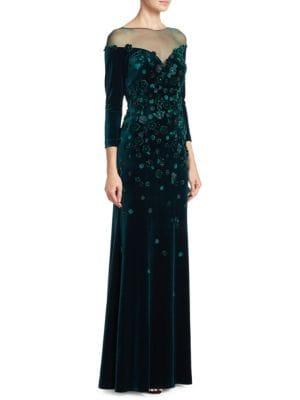 Velvet Floral Illusion Gown