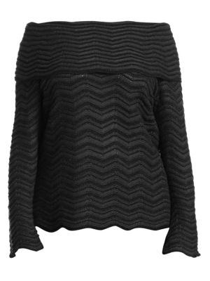 NIC+ZOE PLUS Chevron Off-The-Shoulder Top in Black