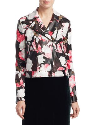 SCRIPTED Floral Faux Leather Moto Jacket