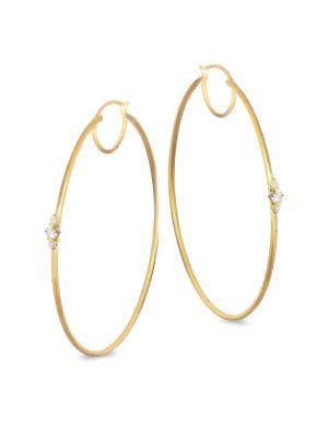 Diamond and 14K Yellow Gold Hoop Earrings