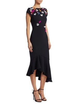 3D Floral Midi Dress