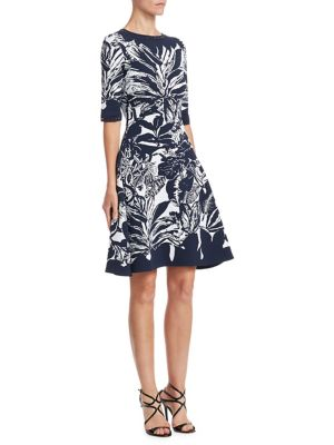 Leaf-Print Cocktail Dress