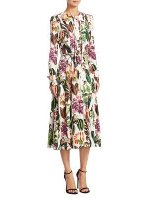 Monkey-Print Silk Dress