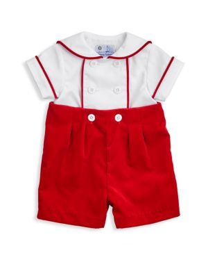Baby's Two-Piece Twill Shirt & Velvet Shorts Set