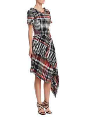 Asymmetric Plaid Dress