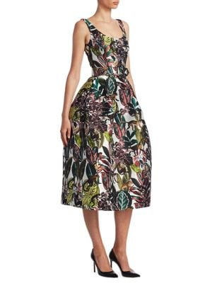 Sleeveless Jungle-Print Dress