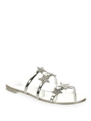 Giuseppe Zanotti Patent flat sandal with three straps and stars ANYA STAR k6O58
