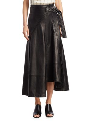 BELTED LEATHER UTILITY MIDI-SKIRT