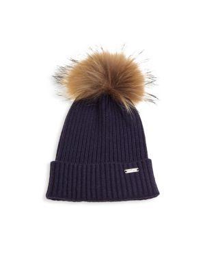 Kid's Rib-Knit Fox Fur Pom-Pom Beanie