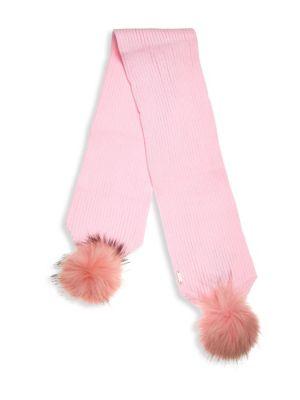 Kid's Fox Fur Pom-Pom Scarf