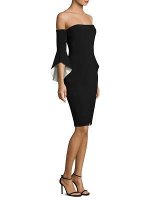 Ramona Off-The-Shoulder Bell-Sleeve Sheath Dress
