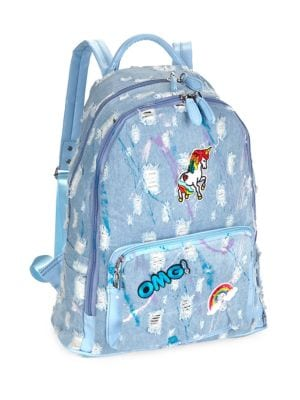 Unicorn Splatter Denim Backpack