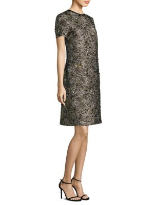 Metallic Jacquard Shift Dress
