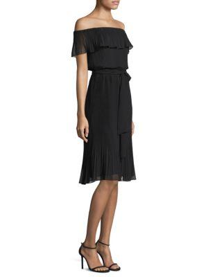 Off-the-Shoulder Ruffle-Pleat Dress