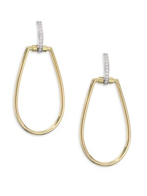 Oval Diamond and 18K Yellow Gold Drop Earrings