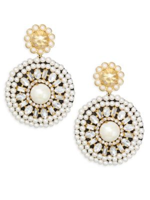 Glass Pearl Embellished Drop Earrings