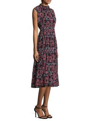 Tapestry Silk Chiffon Midi Dress