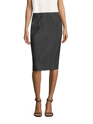 Checked Wool-Blend Pencil Skirt
