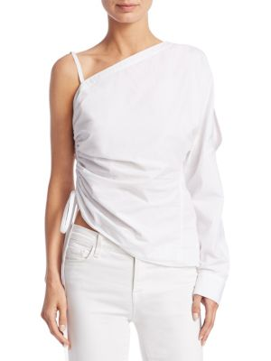 One-Shoulder Cotton Ruched Top