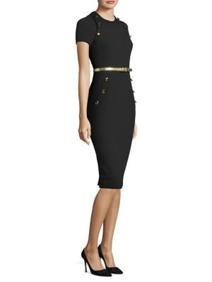 Wool Button Sheath Dress