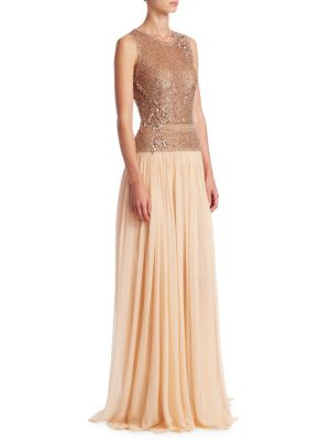 Sequin Embellished Chiffon Gown
