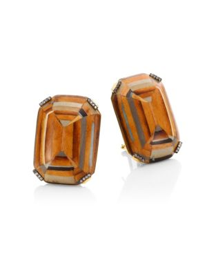Marquetry Light Brown Diamonds & 18K Yellow Gold Stud Earrings