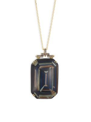Marquetry Light Brown Diamonds, Blue Sapphire & 18K Yellow Gold Pendant Necklace