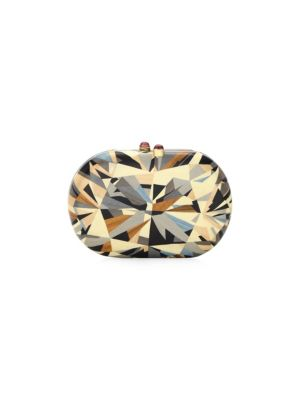 Marquetry 18K Yellow Gold Wood Clutch