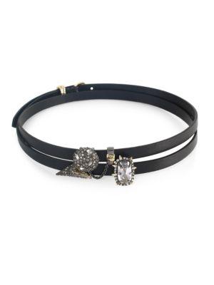 Elements Multi-Wrap Swarovski Crystal, Leather & 10K Yellow Gold Necklace