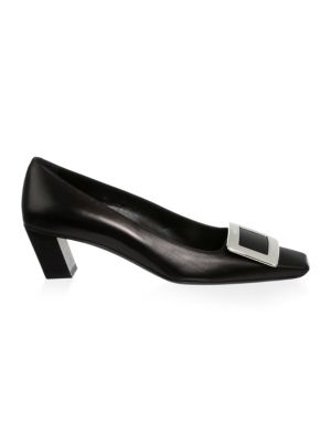 Square Toe Leather Pumps