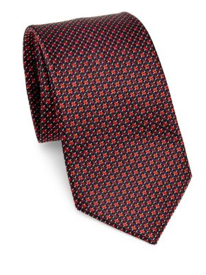 Silk Geometric-Print Tie