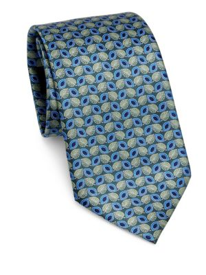 Silk Leaf-Print Tie